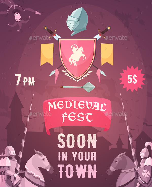 Medieval Fest Announcement Cartoon Posters