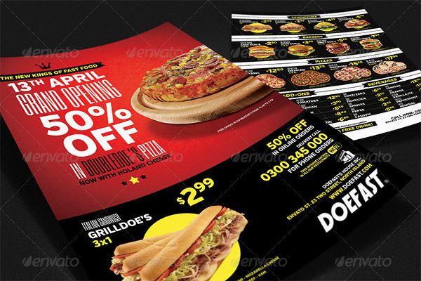 Mega Fast Food Menu Flyer Template