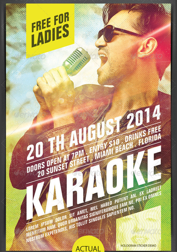 Modern Karaoke Party Flyer Design
