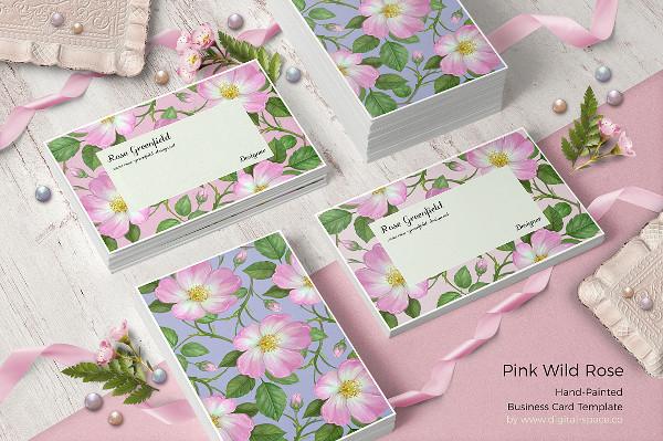 Pink Wild Rose PSD Business Card Template