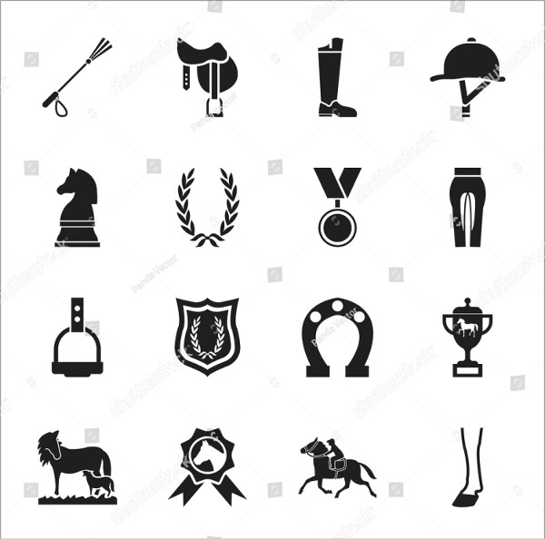 Racing Horse Icons Set