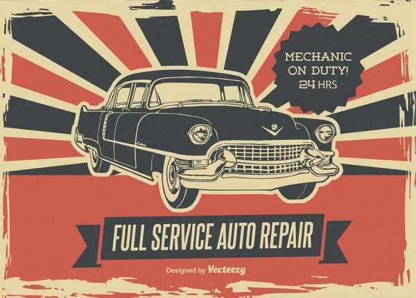 Retro Car Repair Poster Free
