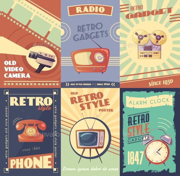 Retro Gadgets Cartoon Posters