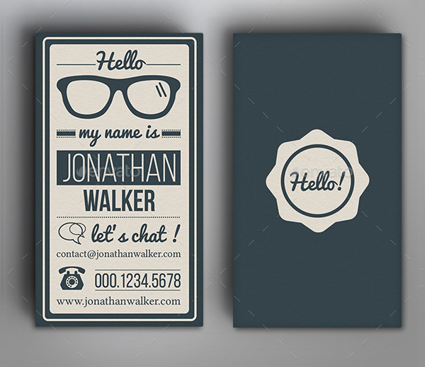 Retro Vintage Typography Photoshop Business Card
