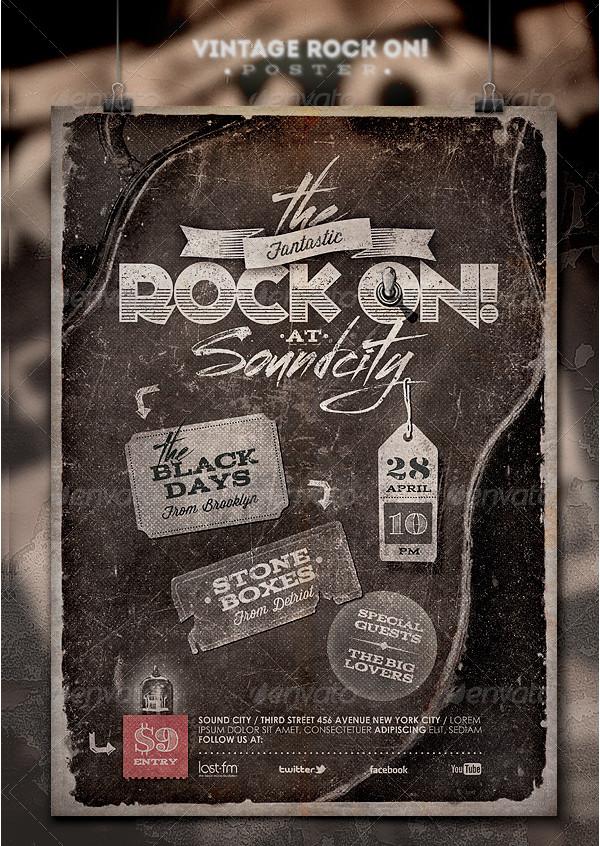 Vintage Rock On Poster