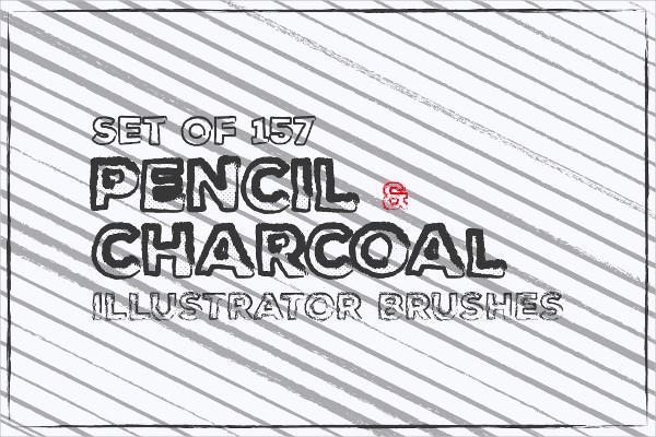 Set of 157 Pencil & Charcoal Brushes Illustrator