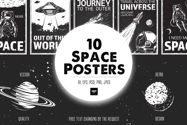 Set of Cartoon Space Posters
