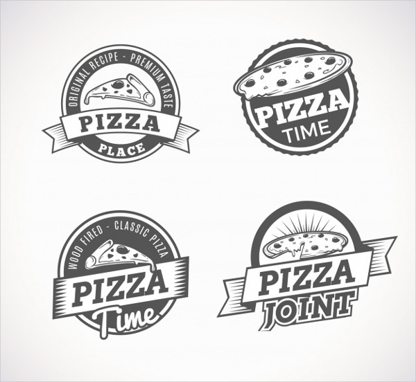 Set of Traditional Logos of Pizzas Free Download