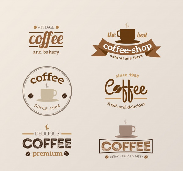 Set of vintage logos for coffee shops Free Vector