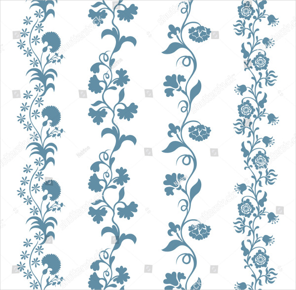 Set of Seamless Trims Brushes Floral Pattern