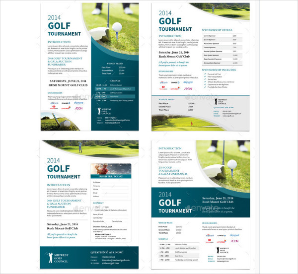 Golf Tournament Flyers in 4 Options
