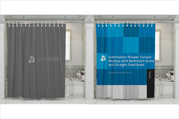 Sublimation Shower Curtain Mock-up with Bathroom Scene
