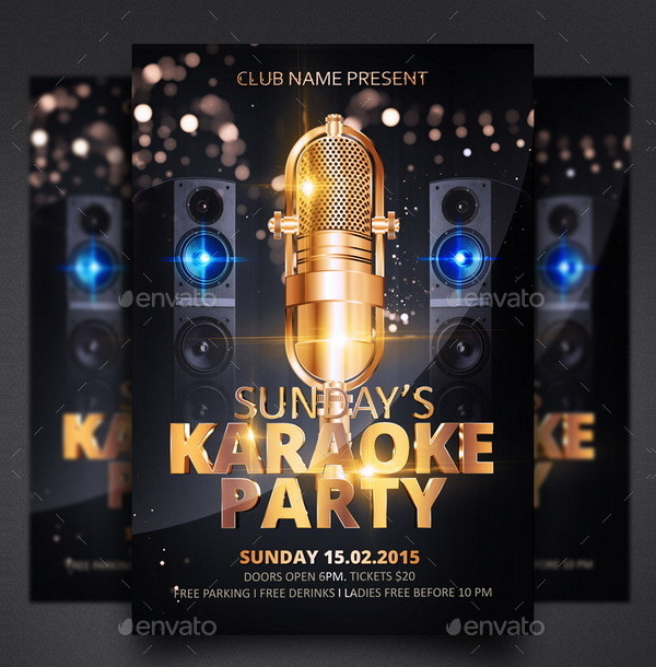 Sunday Karaoke Party Flyer Template