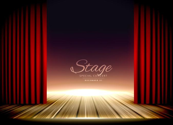 Theater Stage Curtains Mockup Free Vector