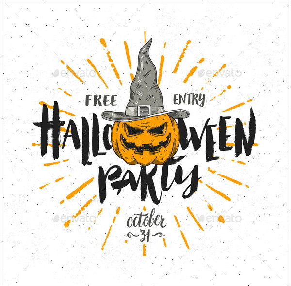 Halloween Party Invitation Vector Illustration