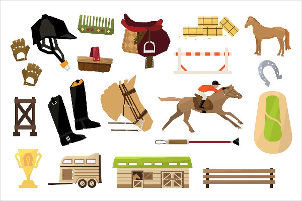 Vector Horse Sport Icons Flat Design