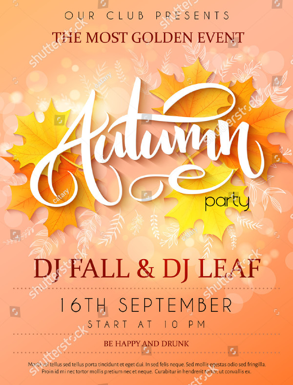 Vector Autumn Party Poster with Lettering