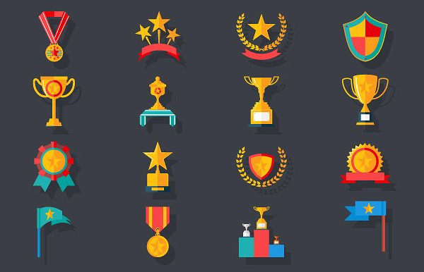 Award Symbols Trophy Icons Set