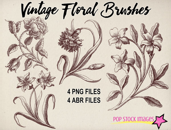 Vintage Floral Brush Sampler Set