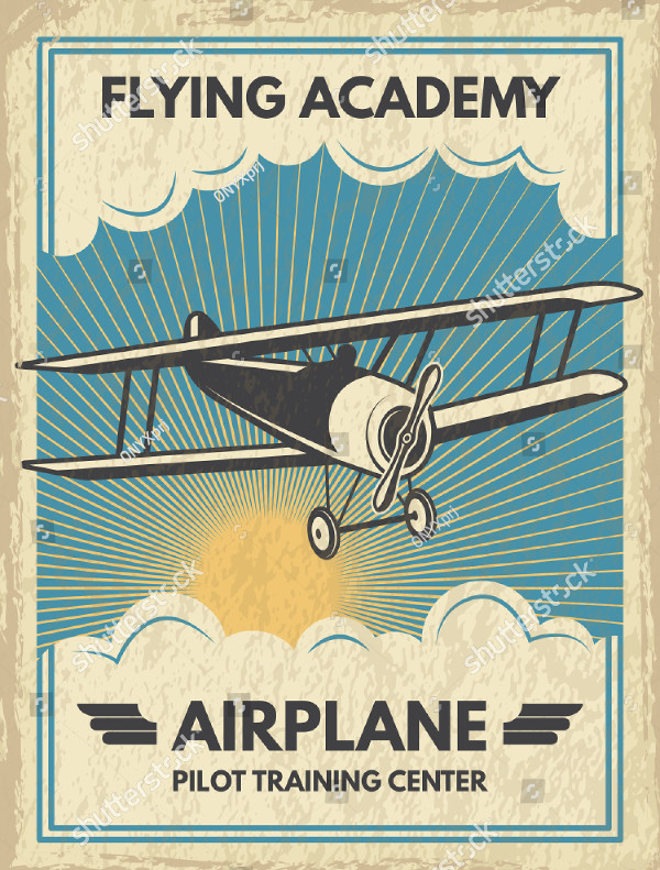 Vintage Aircraft Poster Vector Illustration