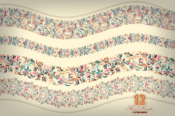 Set of 12 Floral Vector Brushes