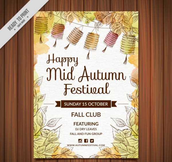 Free Watercolor Happy Autumn Festival Poster