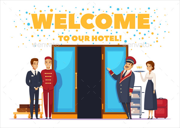 Welcome To Hotel Cartoon Vector Poster