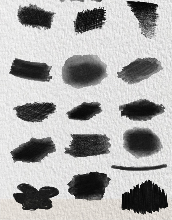 Set of 16 Real Charcoal Brushes