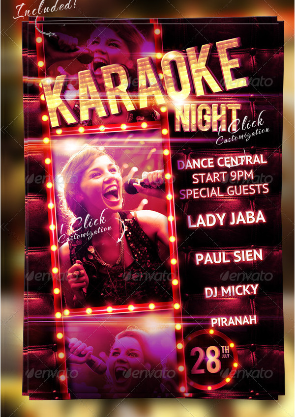 Women Karaoke Night Party Flyer Template