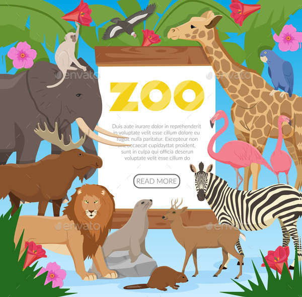 Cartoon Zoo Poster Template