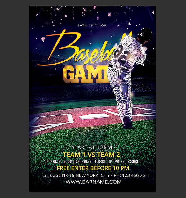 Printable Baseball Pub Flyer Design