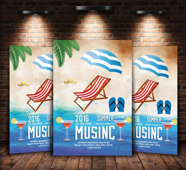 Beach Picnic Party Flyer Template