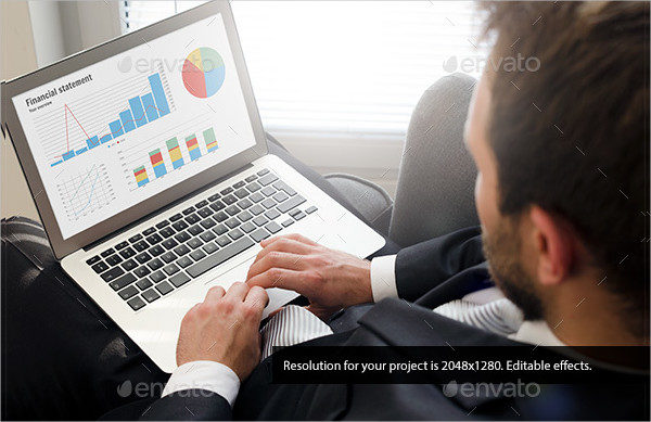 Businessman with Laptop Mock-Up
