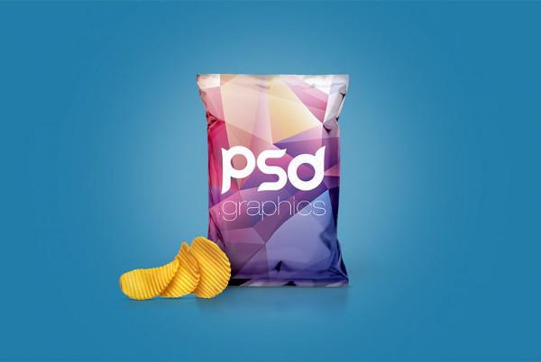 Chips Foil Bag Packaging Mockup Free PSD