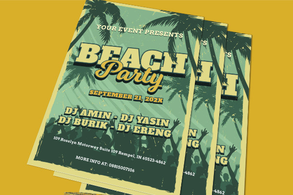 Editable Beach Party Flyer Template
