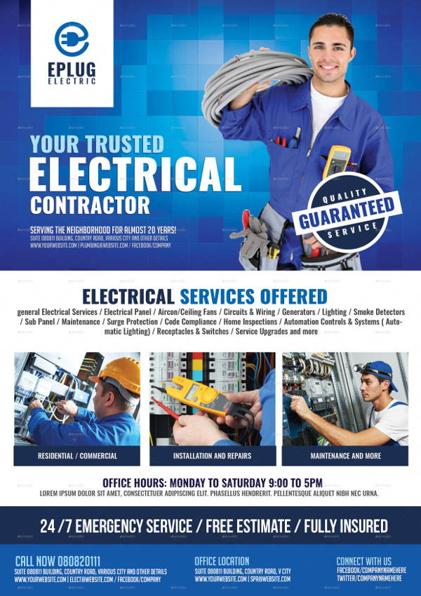 19  electrician flyer templates