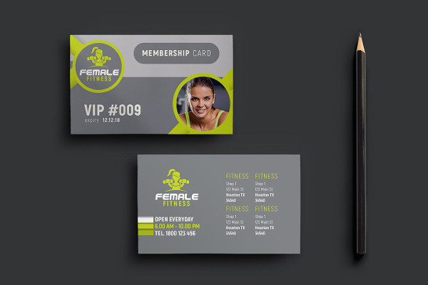 Female Fitness Membership Cards Design
