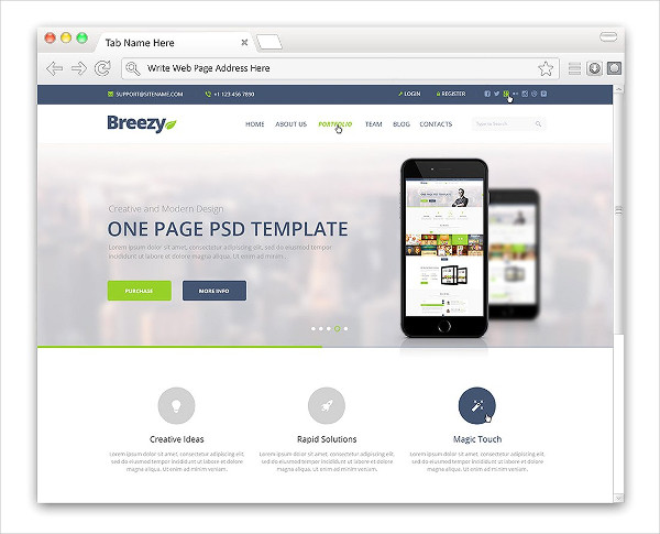 Flat Web Browser Mock-Up PSD