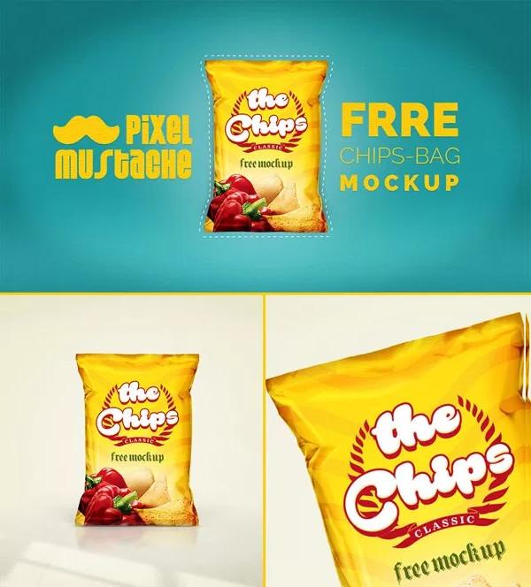 Free Realistic Chips Bag Mockup PSD