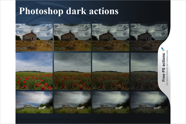 Free Sample Dark Photoshop Actions