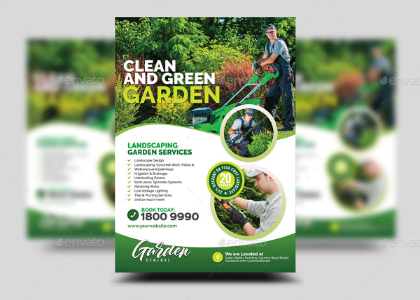 Garden Landscaping and Lawn Design Flyer