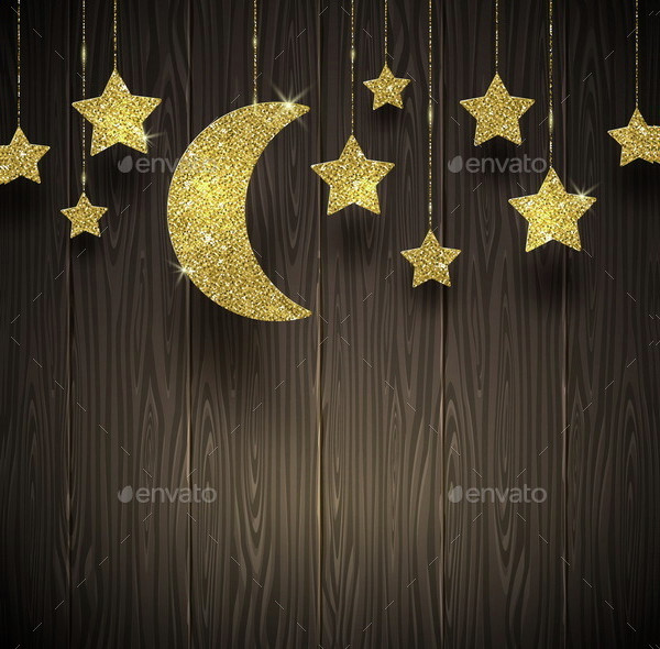 Glitter Gold Stars and Moon on a Wooden Background