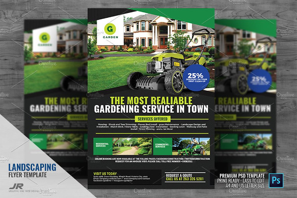 Landscaping and Lawn Cleaning Flyer PSD