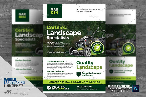 Landscaping and Lawn Mowing Flyer Template