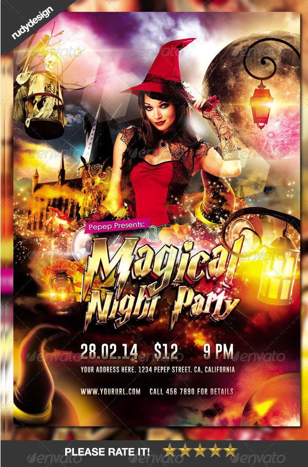 Magical Night Wizard Party Flyer Design