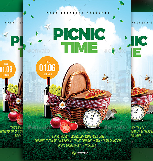 PSD Picnic Time Flyer Template