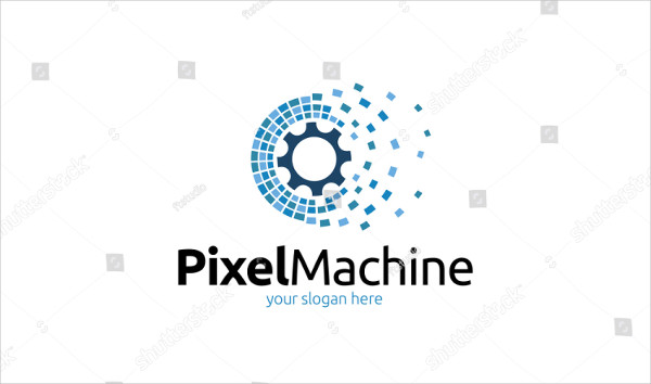 Pixel Machine Design Logo Template