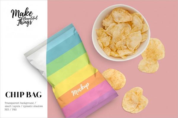 Potato Chips Bag Mockup & Movable Elements