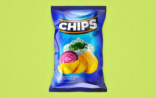 Glossy Plastic Chips Pouch Mock-Up