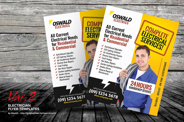 Residential Electrician Flyer Templates